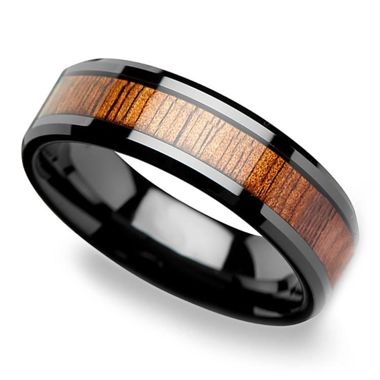 Koa Wood Inlay Beveled Ring in Black Ceramic (4mm) | 01