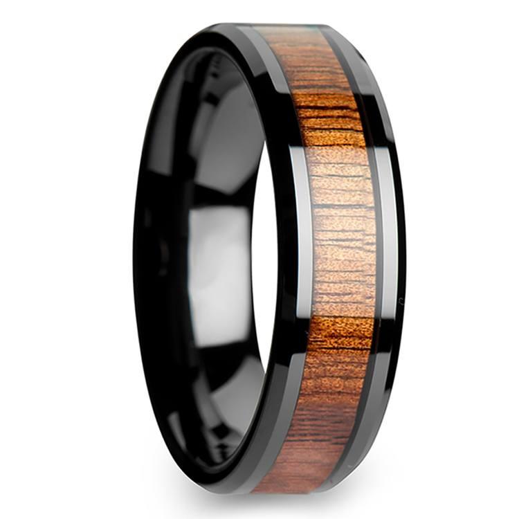 Koa Wood Inlay Beveled Ring in Black Ceramic (4mm) | 02