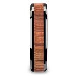 Koa Wood Inlay Men's Beveled Ring in Black Ceramic (6mm) | Thumbnail 03