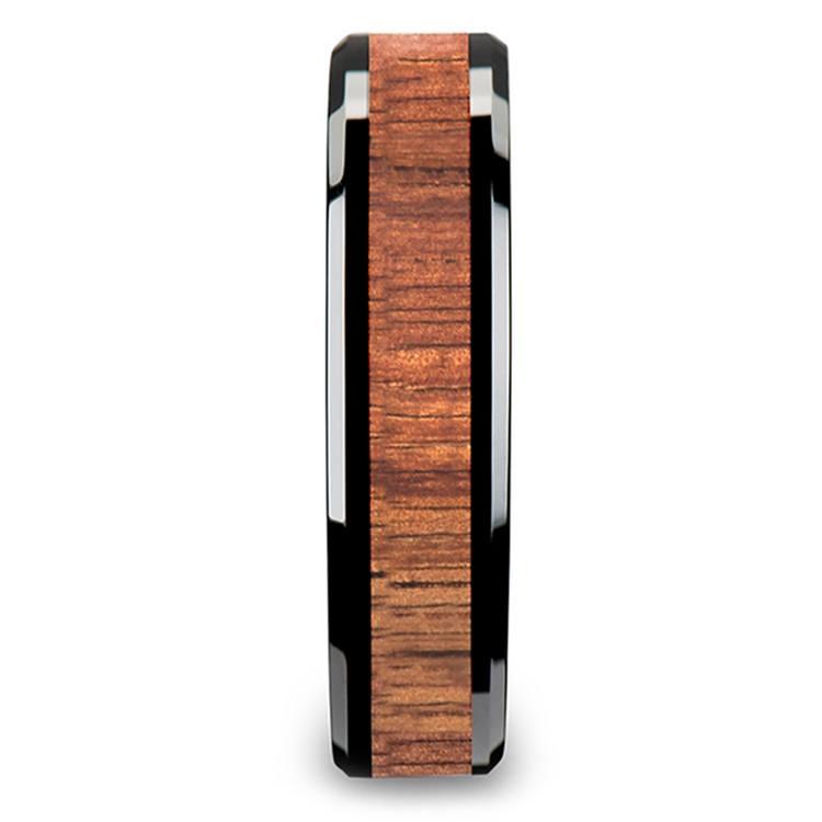 Koa Wood Inlay Men's Beveled Ring in Black Ceramic (6mm) | 03
