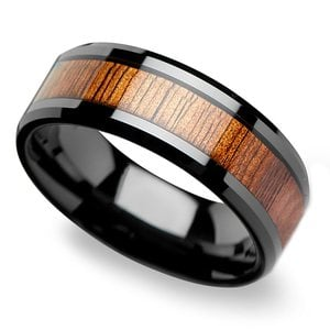 Low Tide - Beveled Black Ceramic Mens Band with KOA Wood Inlay
