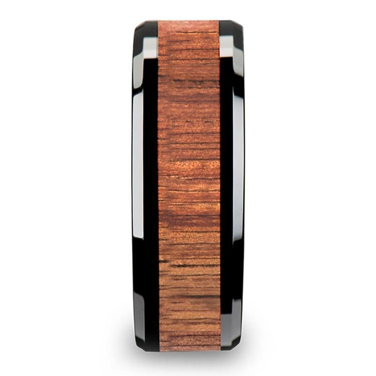 Koa Wood Inlay Men's Beveled Ring in Black Ceramic (8mm) | 03