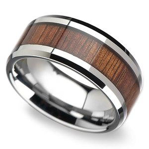 Beveled Men's Ring with Koa Wood Inlay in Tungsten (10mm)