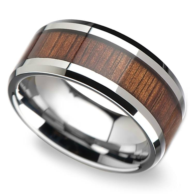 Beveled Men's Ring with Koa Wood Inlay in Tungsten (10mm) | 01