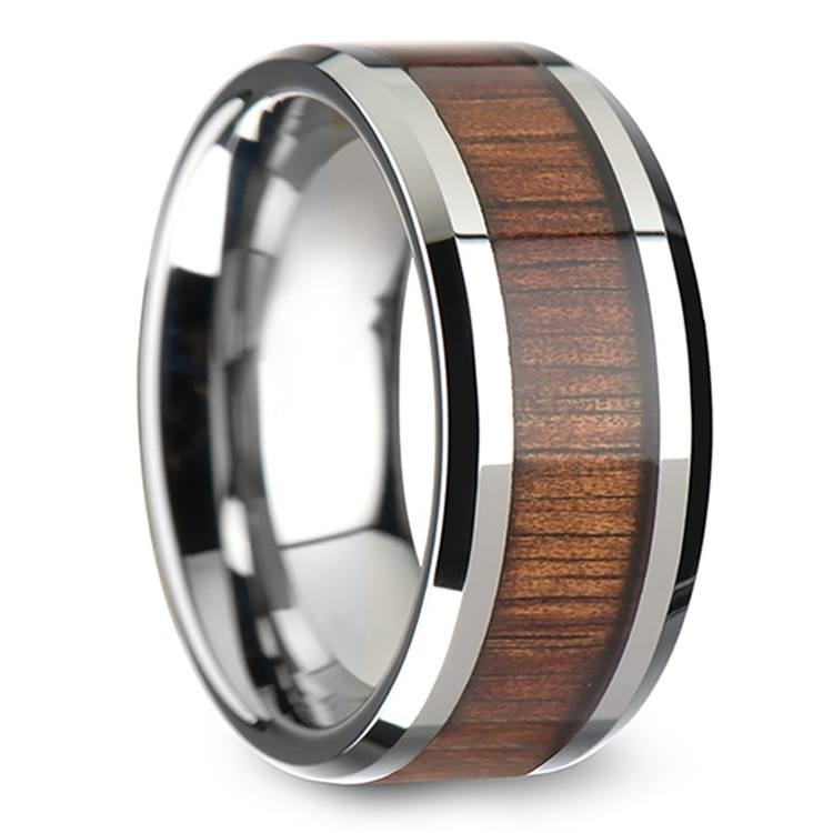 Beveled Men's Ring with Koa Wood Inlay in Tungsten (10mm) | 02