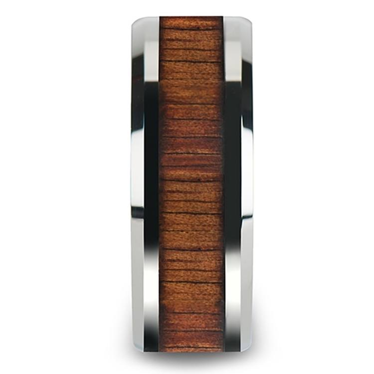 Beveled Men's Ring with Koa Wood Inlay in Tungsten (10mm) | 03