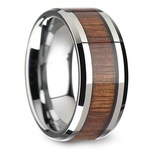 Beveled Men's Ring with Koa Wood Inlay in Tungsten (12mm) | Thumbnail 02