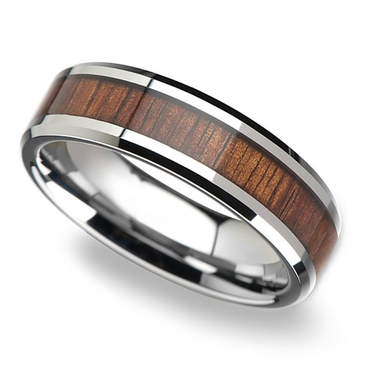 Beveled Men's Ring with Koa Wood Inlay in Tungsten (6mm) | 01
