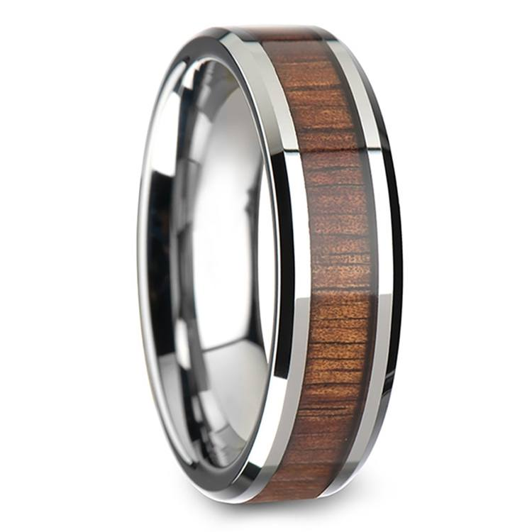 Beveled Men's Ring with Koa Wood Inlay in Tungsten (6mm) | 02