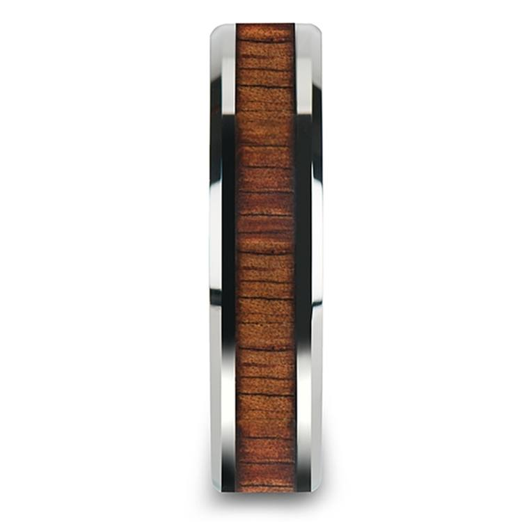 Beveled Men's Ring with Koa Wood Inlay in Tungsten (6mm) | 03