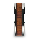 Beveled Men's Ring with Koa Wood Inlay in Tungsten (8mm) | Thumbnail 03