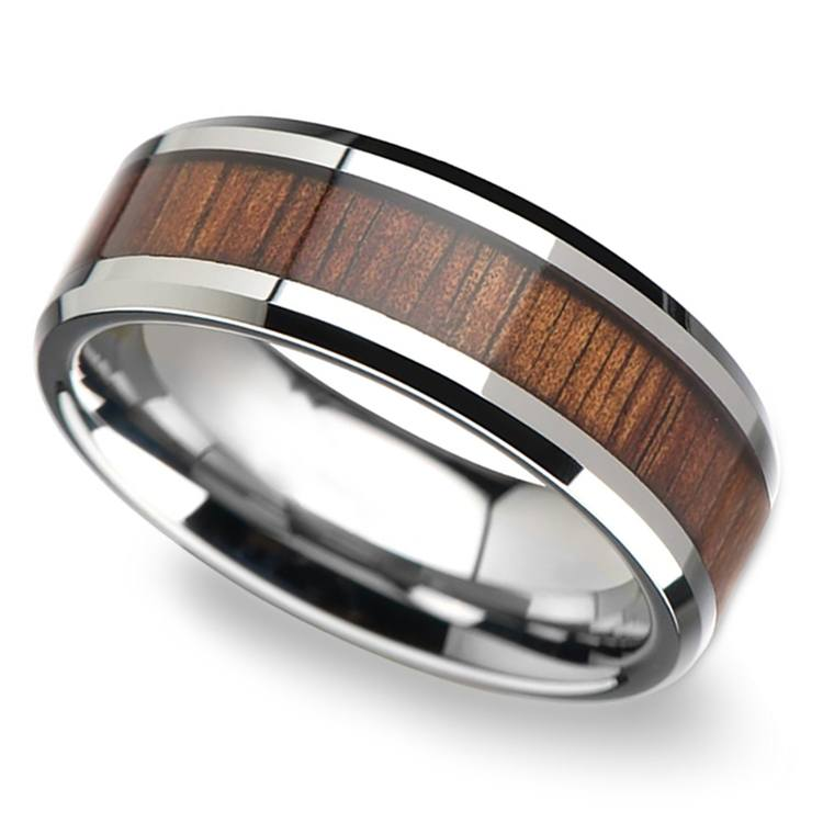 Beveled Men's Ring with Koa Wood Inlay in Tungsten (8mm) | 01