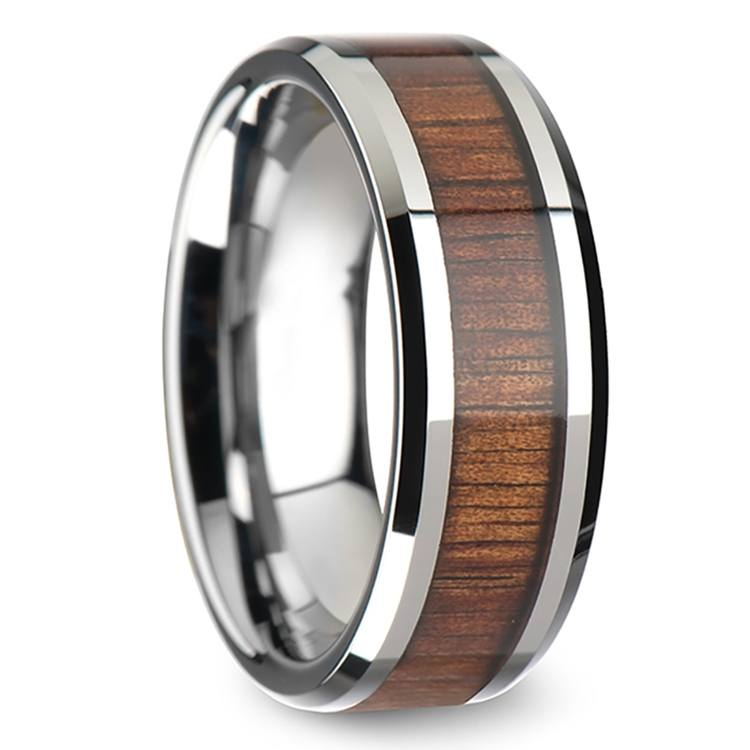 Beveled Men's Ring with Koa Wood Inlay in Tungsten (8mm) | 02