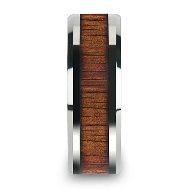 Beveled Men's Ring with Koa Wood Inlay in Tungsten (8mm) | 03