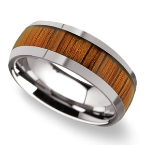 Riptide - Tungsten Mens Ring with Koa Wood Inlay