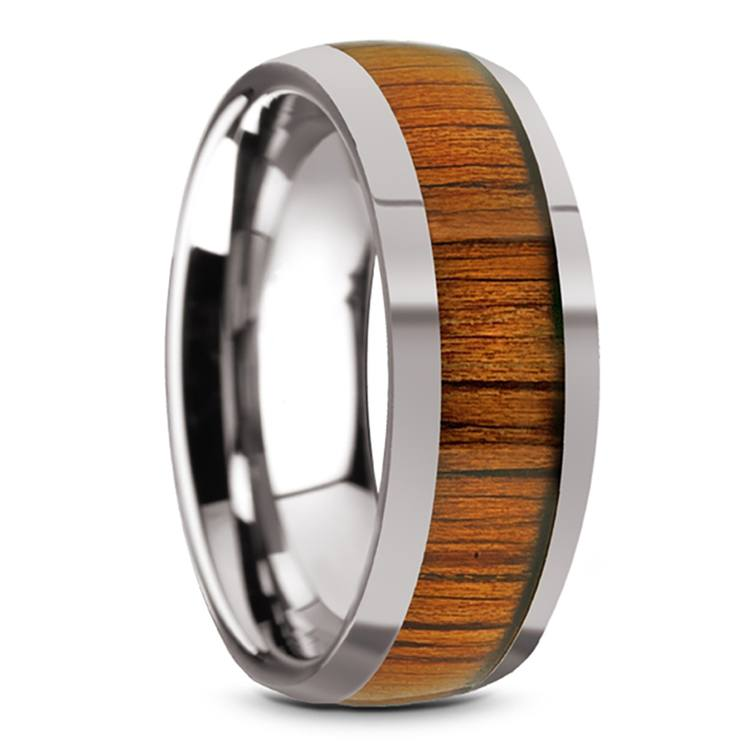 Riptide - Tungsten Mens Ring with Koa Wood Inlay | 02