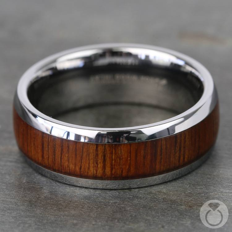 Riptide - Tungsten Mens Ring with Koa Wood Inlay | 04