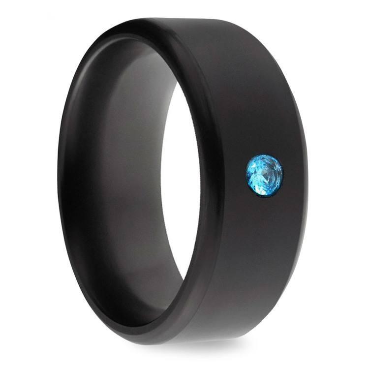 Kratos - Blue Diamond Inset Polished Elysium Ring | 02