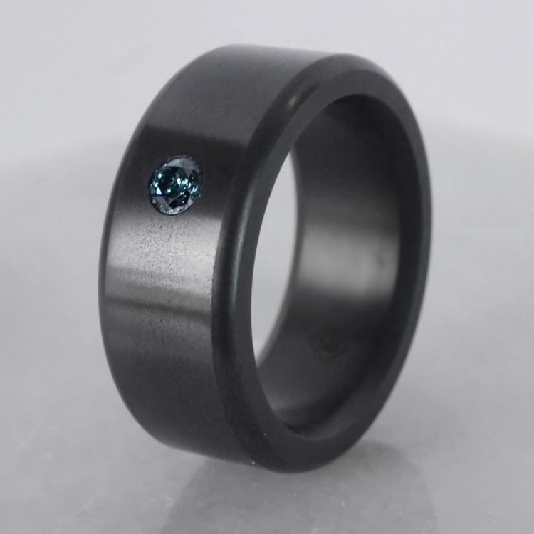 Kratos - Blue Diamond Inset Polished Elysium Ring | 06