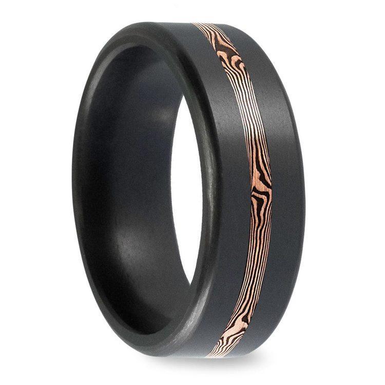 Kratos - Rose Gold Mokume Inlay Polished Elysium Wedding Band | 02