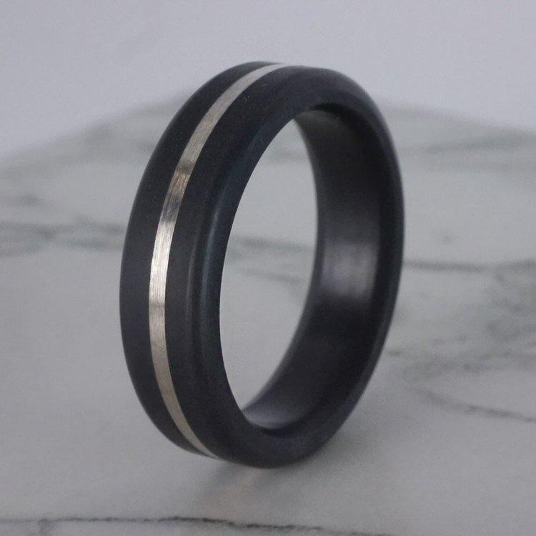 Kratos - Silver Inlay Matte Elysium Wedding Band (6mm) | 06