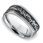 Buck Wild - Cobalt Mens Wedding Band with Antler Pattern | Thumbnail 01