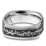 Buck Wild - Cobalt Mens Wedding Band with Antler Pattern | Thumbnail 03