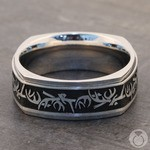 Buck Wild - Cobalt Mens Wedding Band with Antler Pattern | Thumbnail 04