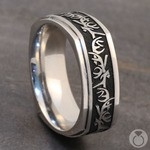 Buck Wild - Cobalt Mens Wedding Band with Antler Pattern | Thumbnail 05
