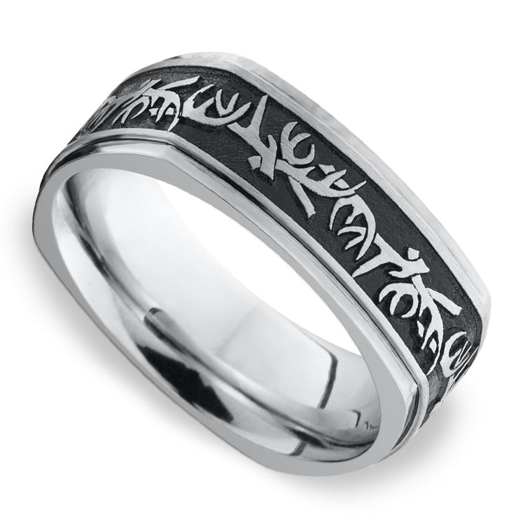 Buck Wild - Cobalt Mens Wedding Band with Antler Pattern | 01
