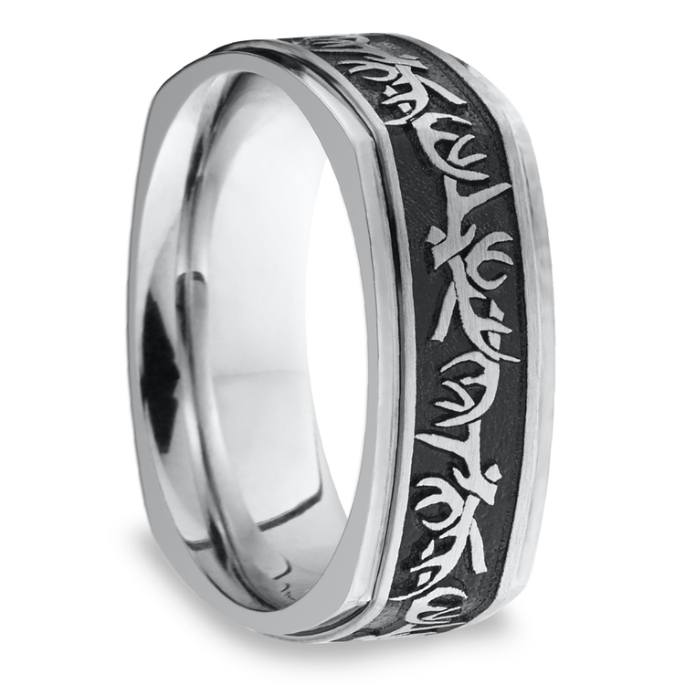 Buck Wild - Cobalt Mens Wedding Band with Antler Pattern | 02