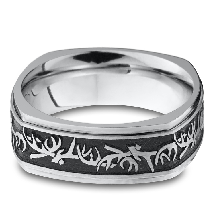 Buck Wild - Cobalt Mens Wedding Band with Antler Pattern | 03