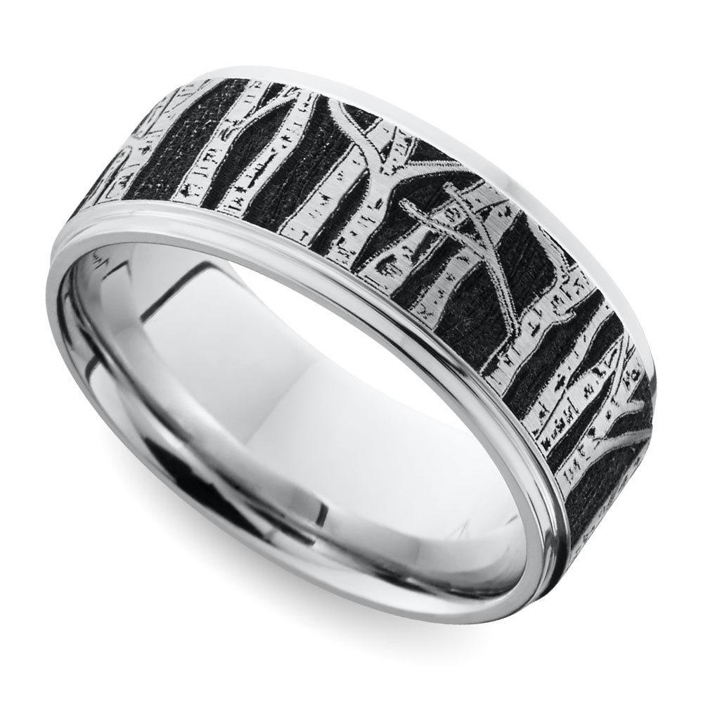 laser carved aspen design mens wedding ring in cobalt - Cobalt Wedding Rings
