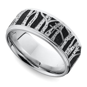Aspen - Laser Carved Mens Wedding Band