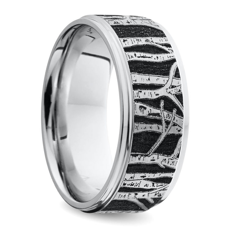 Aspen - Laser Carved Mens Wedding Band | 02