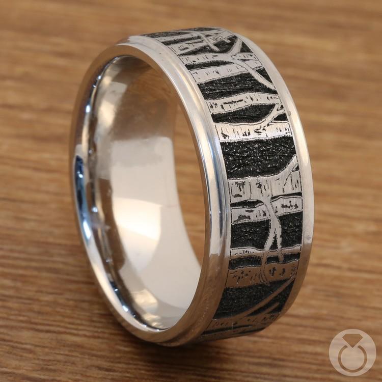 Aspen - Laser Carved Mens Wedding Band | 04