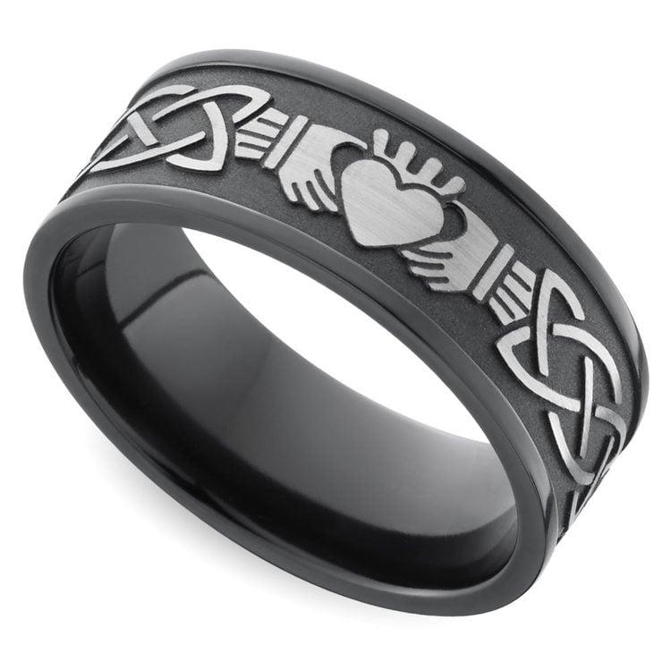 Laser Carved Celtic Claddagh Men's Wedding Ring in Zirconium | 01