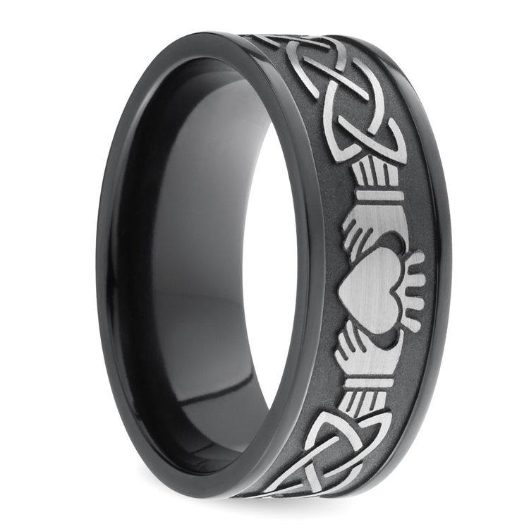 Laser Carved Celtic Claddagh Men's Wedding Ring in Zirconium | 02