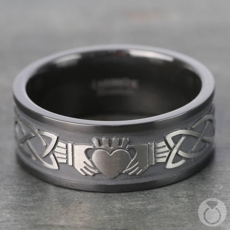 Laser Carved Celtic Claddagh Men's Wedding Ring in Zirconium | 03