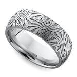 Laser Carved Domed Men's Wedding Ring in Cobalt   Thumbnail 01