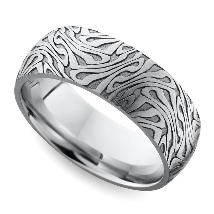Laser Carved Domed Men's Wedding Ring in Cobalt   01