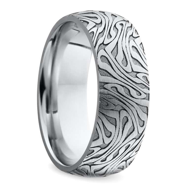 Laser Carved Domed Men's Wedding Ring in Cobalt   02