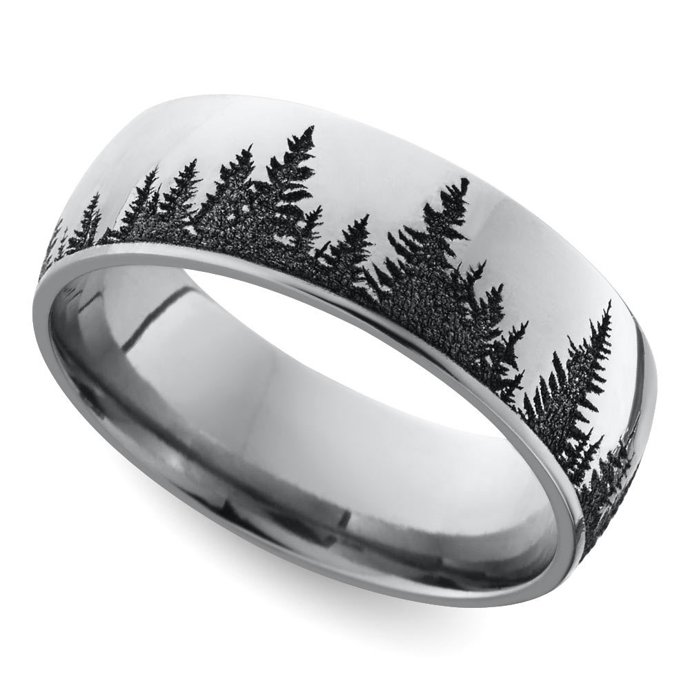 laser carved forest pattern mens wedding ring in cobalt - Wedding Rings Mens