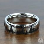 Laser Carved Forest Pattern Men's Wedding Ring in Cobalt | Thumbnail 03