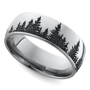 Laser Carved Forest Pattern Men's Wedding Ring in Cobalt