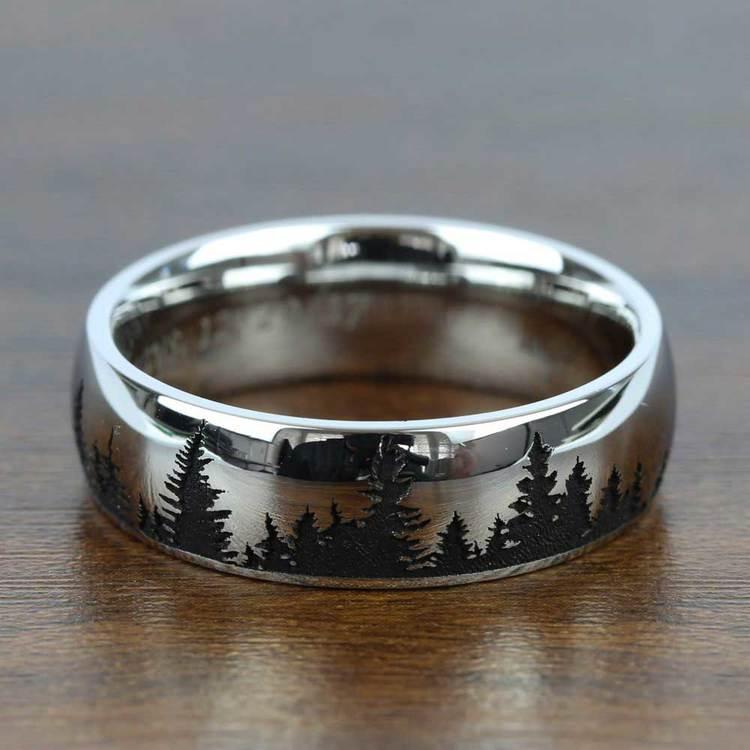 Laser Carved Forest Pattern Men S Wedding Ring In Cobalt