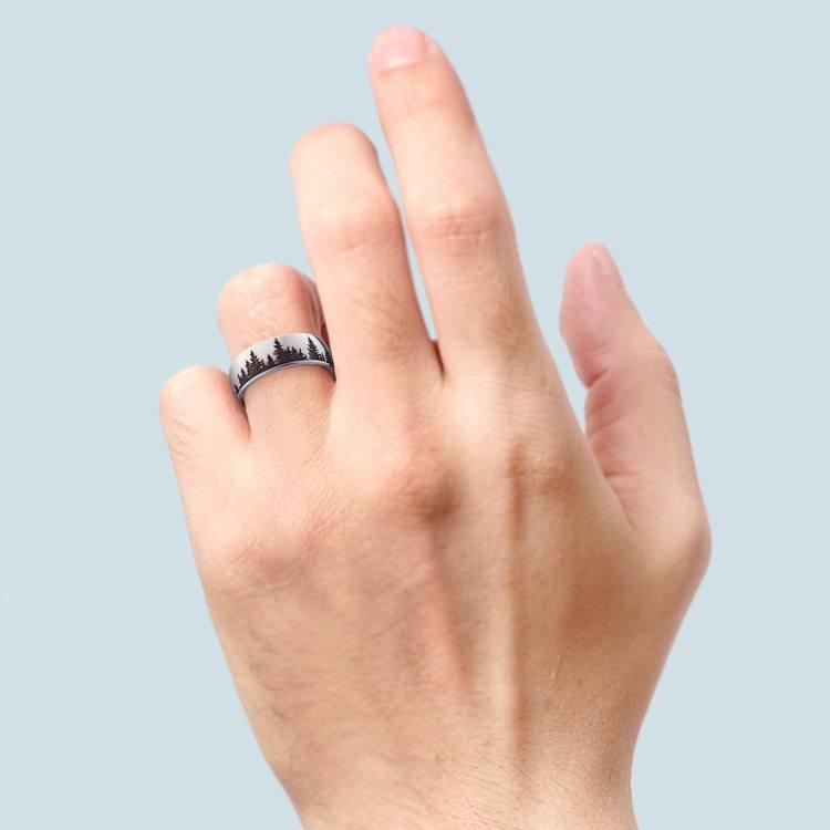 Laser Carved Forest Pattern Men's Wedding Ring in Cobalt | 03