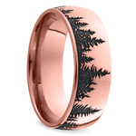 Laser Carved Forest Pattern Men's Wedding Ring in Rose Gold | Thumbnail 02