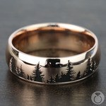 Laser Carved Forest Pattern Men's Wedding Ring in Rose Gold | Thumbnail 03