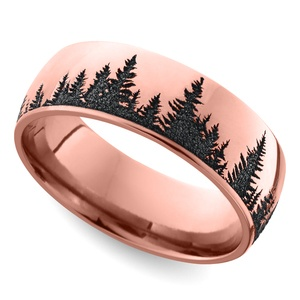 Laser Carved Forest Pattern Men's Wedding Ring in Rose Gold